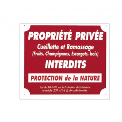 "PANNEAU ALUMINIUM ""PROPRIETE PRIVEE RAMASSAGE INTERDIT"""