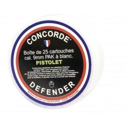 CARTOUCHE 9MM CONCORDE DEFENDER A BLANC PAK PAR 25